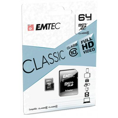 MICRO SDXC EXTENDED CAPACITY 64GB CLASSE 10 EMTEC BLISTER